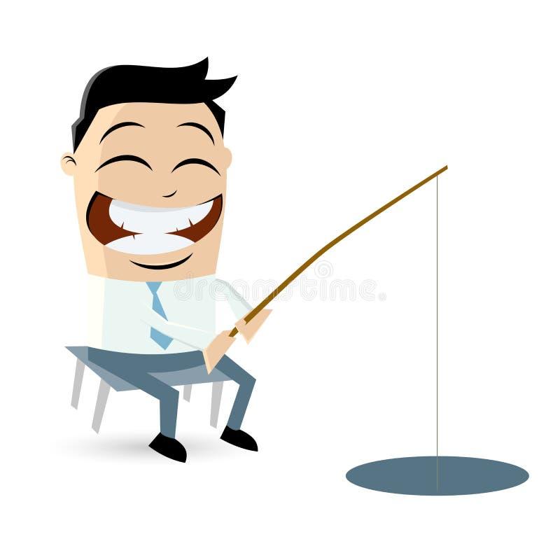 Den roliga affärsmannen fiskar vektor illustrationer