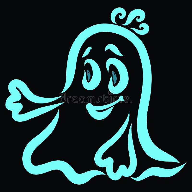 Den roliga bra spöken önskar att möta eller spela royaltyfri illustrationer