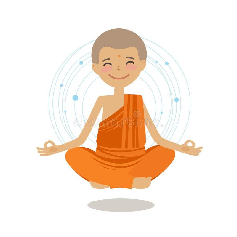 Den roliga buddistiska munken sitter i lotusblommaposition Buddism yogabegrepp den främmande tecknad filmkatten flyr illustration royaltyfri illustrationer