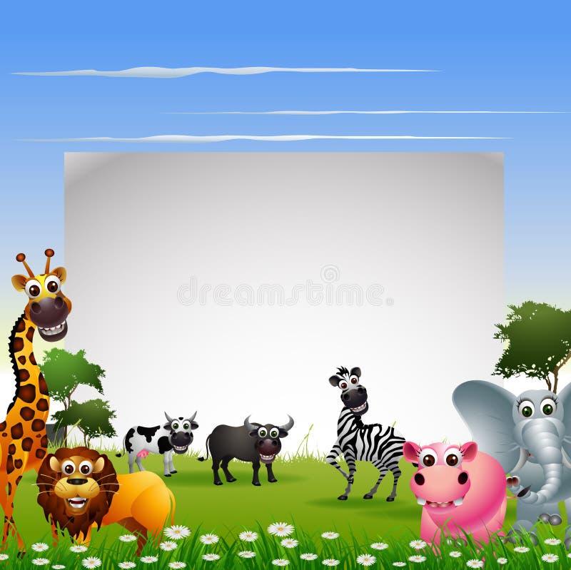 Den roliga djura tecknad filmsamlingen med naturbakgrund och mellanrumet undertecknar royaltyfri illustrationer