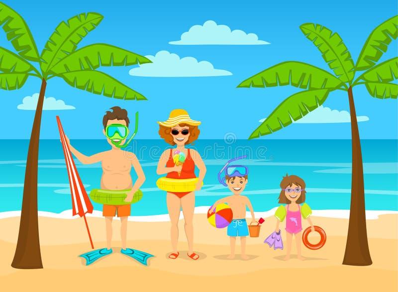 Den roliga familjen på tropiska semestrar för sommarstrand, ordnar till för ferier royaltyfri illustrationer