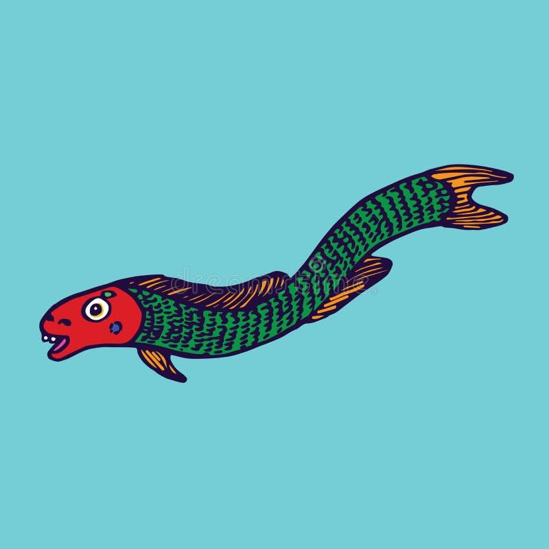 Den roliga gröna ålfisken, hand dragen klotterfärg skissar i naïve, stil för popkonst stock illustrationer