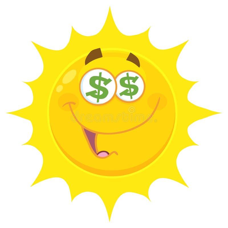 Den roliga gula soltecknade filmen Emoji vänder mot teckenet med dollarögon och leuttryck royaltyfri illustrationer