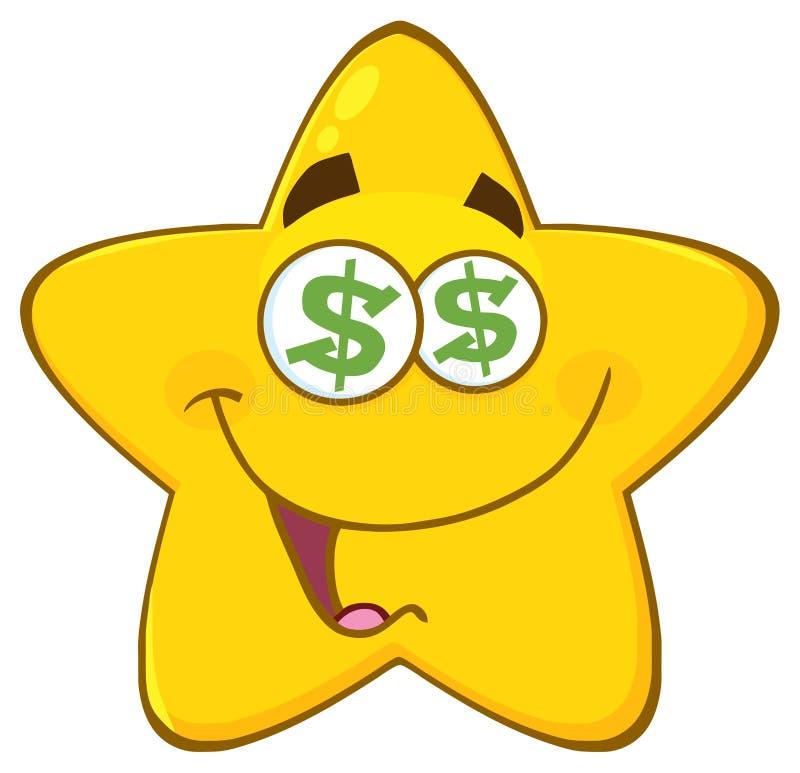 Den roliga gula stjärnatecknade filmen Emoji vänder mot teckenet med dollarögon och leuttryck stock illustrationer