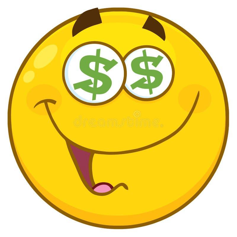 Den roliga gula tecknade filmen Emoji vänder mot teckenet med dollarögon och leuttryck stock illustrationer
