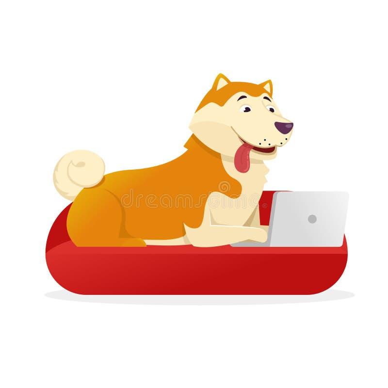 Den roliga hunden med bärbara datorn rundar dess svans upp vektorlägenhetillustration Hundtecknad filmtecken som isoleras på vit  vektor illustrationer