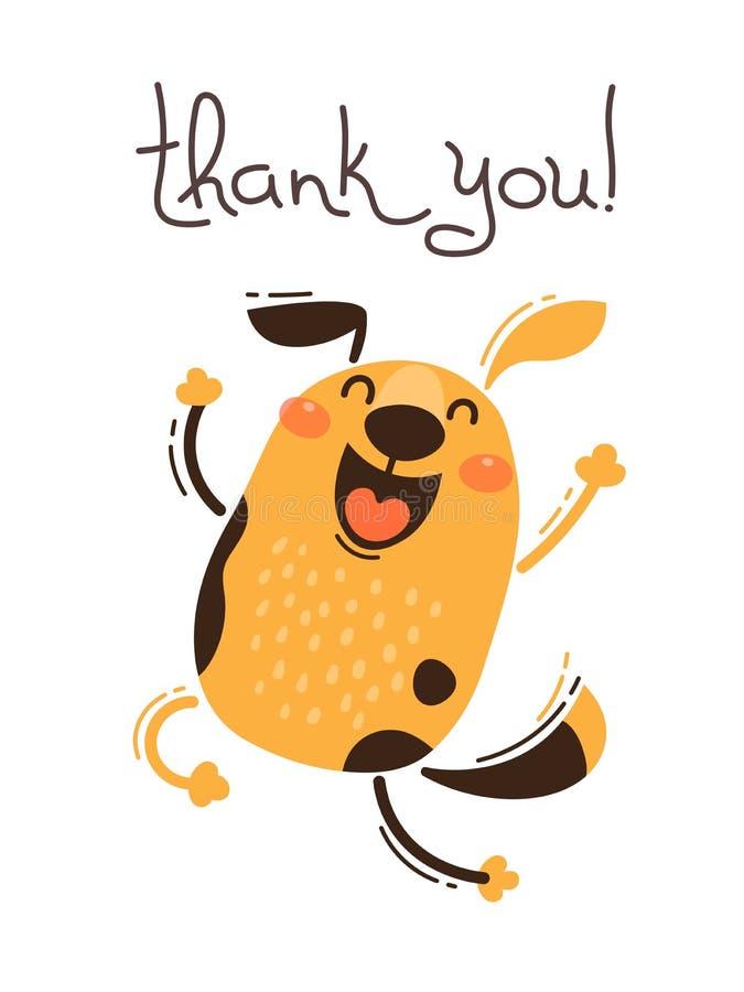 Den roliga hunden säger tackar dig Vektorillustration i tecknad filmstil royaltyfri illustrationer