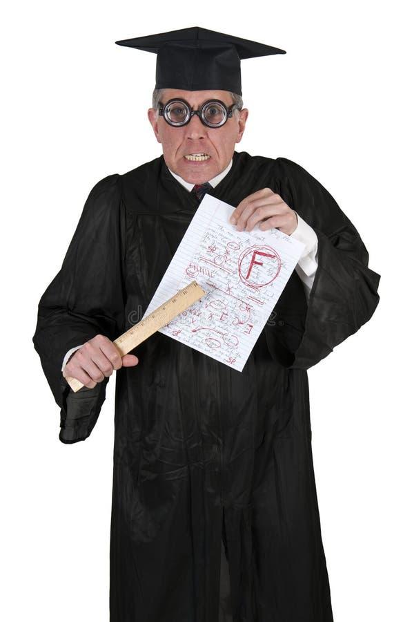den roliga ilskna högskolan blidkar den genomsnittliga professorlärare royaltyfri bild