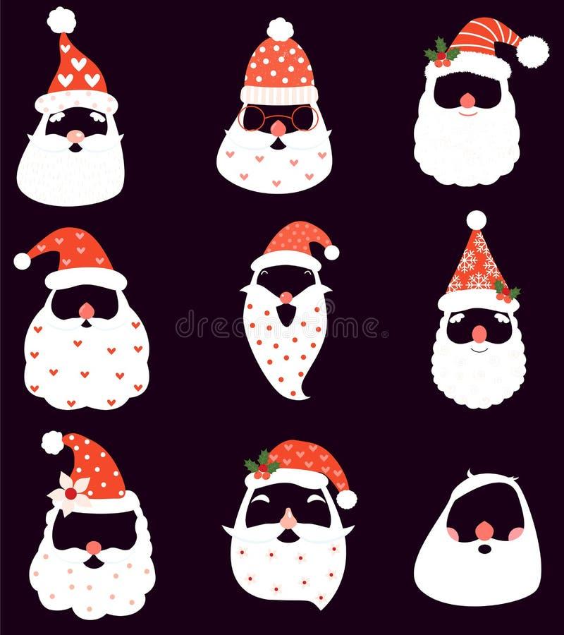 Den roliga julvektorn ställde in med det jultomtenhattar, skägget och mustascher royaltyfri illustrationer