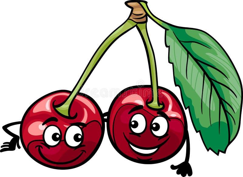Den roliga körsbäret bär frukt tecknad filmillustrationen royaltyfri illustrationer