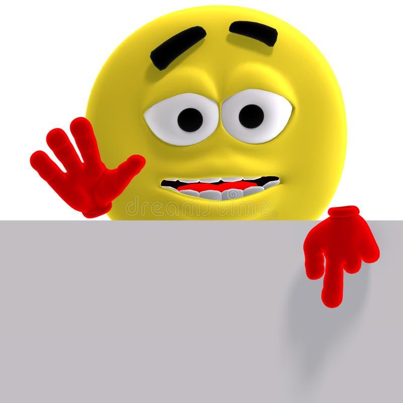 den roliga kalla emoticonen ser här säger yellow vektor illustrationer