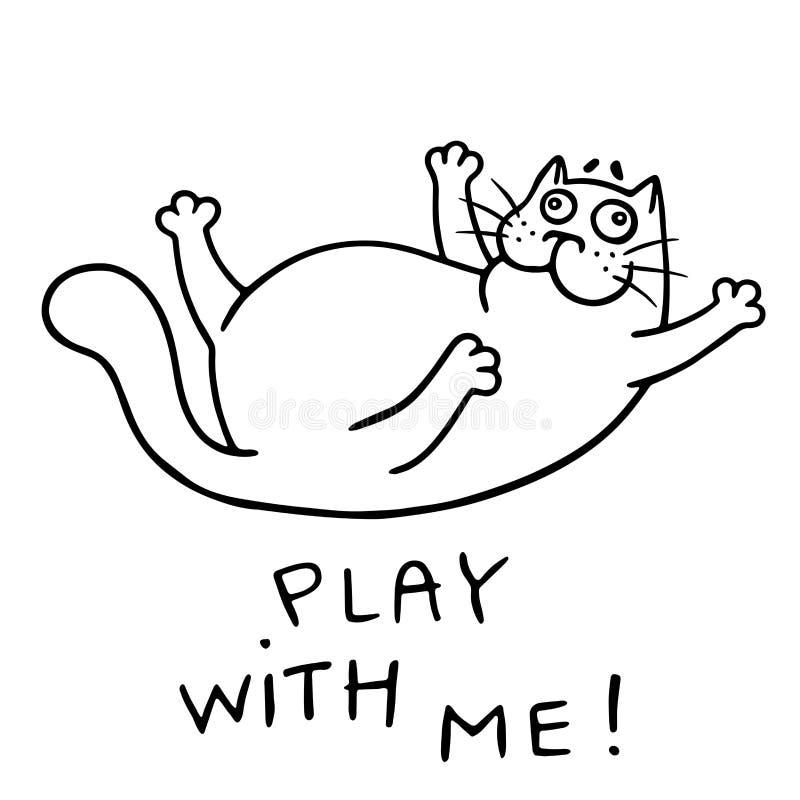 Den roliga katten önskar att spela Isolerad vektorillustration stock illustrationer