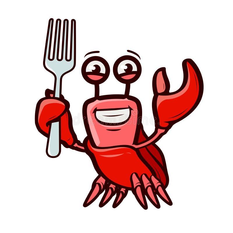 Den roliga krabban rymmer gaffeln Havs- tecknad filmvektorillustration stock illustrationer