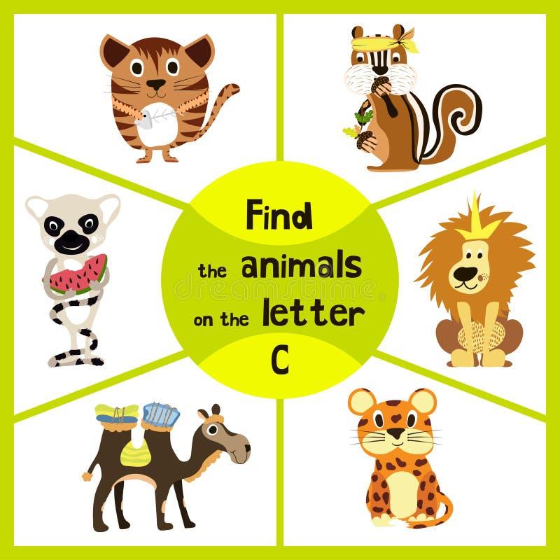 Den roliga lärande labyrintleken, finner all 3 gulliga vilda djur med bokstaven C, den vänliga kattungen, den afrikanska kamlet o royaltyfri illustrationer