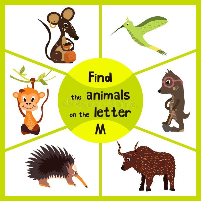 Den roliga lärande labyrintleken, finner all 3 gulliga vilda djur med bokstaven M, fältmusen, den tropiska macaqueapan och kryp-a royaltyfri illustrationer