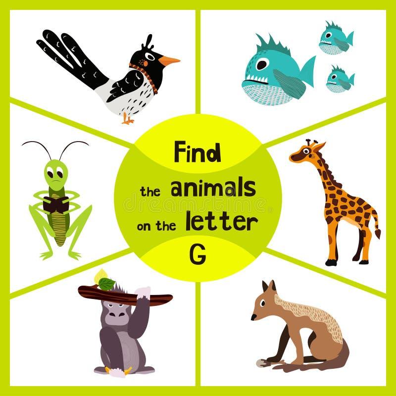 Den roliga lärande labyrintleken, finner all 3 gulliga vilda djur med bokstavsGet, den tropiska gorillan, giraffet från Savannah  royaltyfri illustrationer