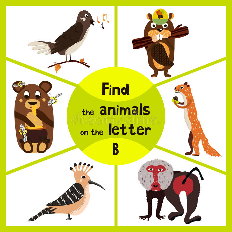 Den roliga lärande labyrintleken, finner alla gullig vilda djur 3 p-ordet, apan, babianen, björnen och bäver Bildande sida för ch stock illustrationer