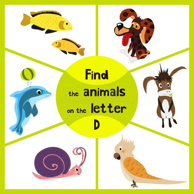 Den roliga lärande labyrintleken, finner alla 3 gulliga djuren med bokstaven D, en delfin, en hund och en åsna Bildande sida för  royaltyfri illustrationer