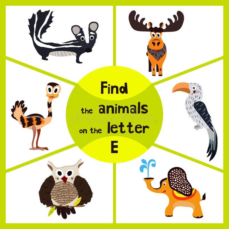 Den roliga lärande labyrintleken, finner alla 3 gulliga djuren med bokstaven E, EMU, elefanten, älg Bildande cranica för förskole vektor illustrationer