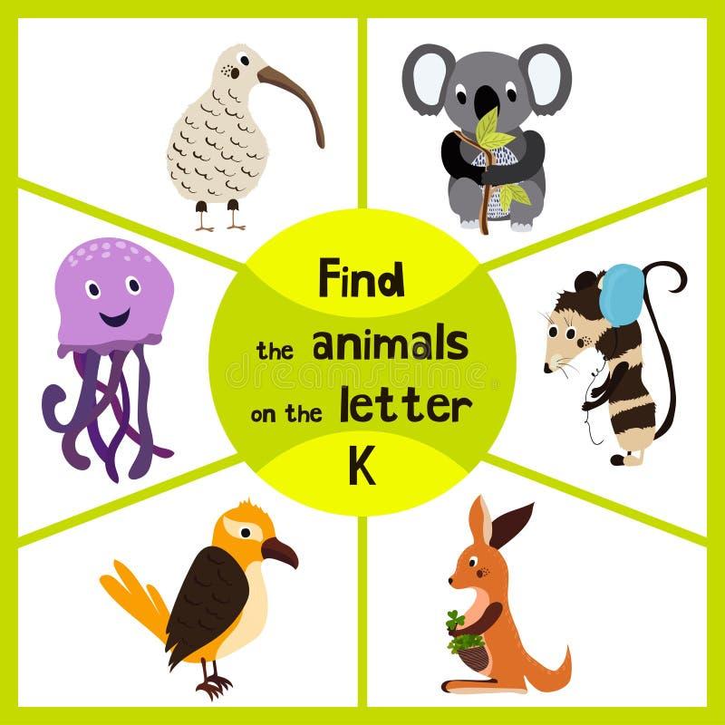 Den roliga lärande labyrintleken, finner alla 3na av gullig vilda djur till bokstaven K, den australiska kiwifågeln, pungdjur kän royaltyfri illustrationer