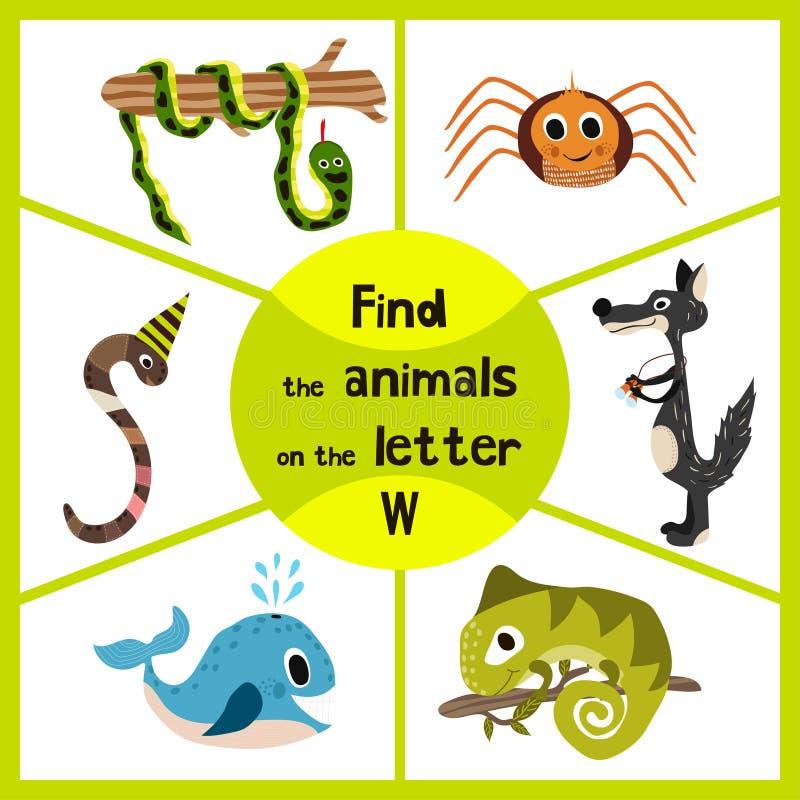 Den roliga lärande labyrintleken, finner alla 3na av gullig vilda djur till bokstaven, skogrovdjuret, vargen, daggmasken och havs stock illustrationer