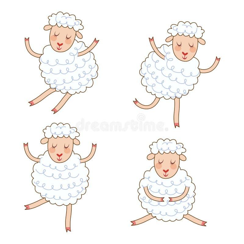 Den roliga lilla fåruppsättningen i olikt poserar Samling isolerade får i tecknad filmstil royaltyfri illustrationer