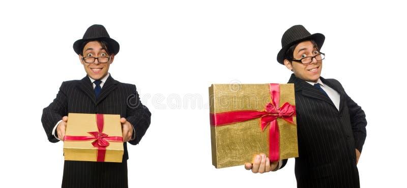 Den roliga mannen med giftbox på vit arkivbilder