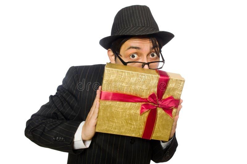 Den roliga mannen med giftbox på vit royaltyfria bilder