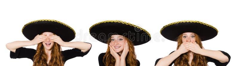 Den roliga mexikanska kvinnan hör in för att se speal royaltyfria bilder