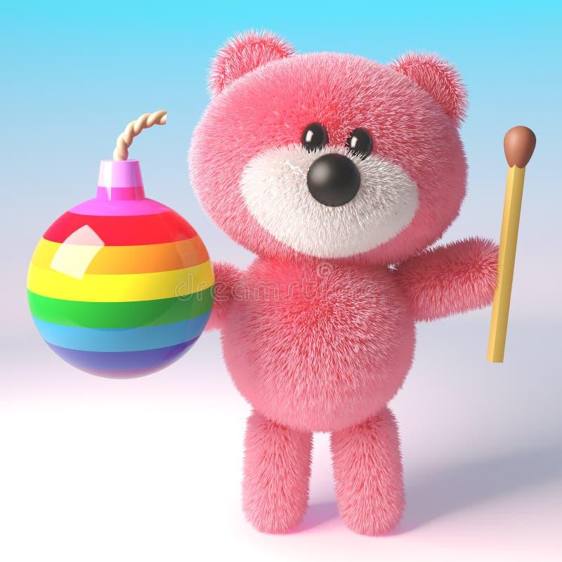 Den roliga nallebjörnen med rosa fluffig päls som rymmer en regnbåge, bombarderar och matchen, illustrationen 3d stock illustrationer