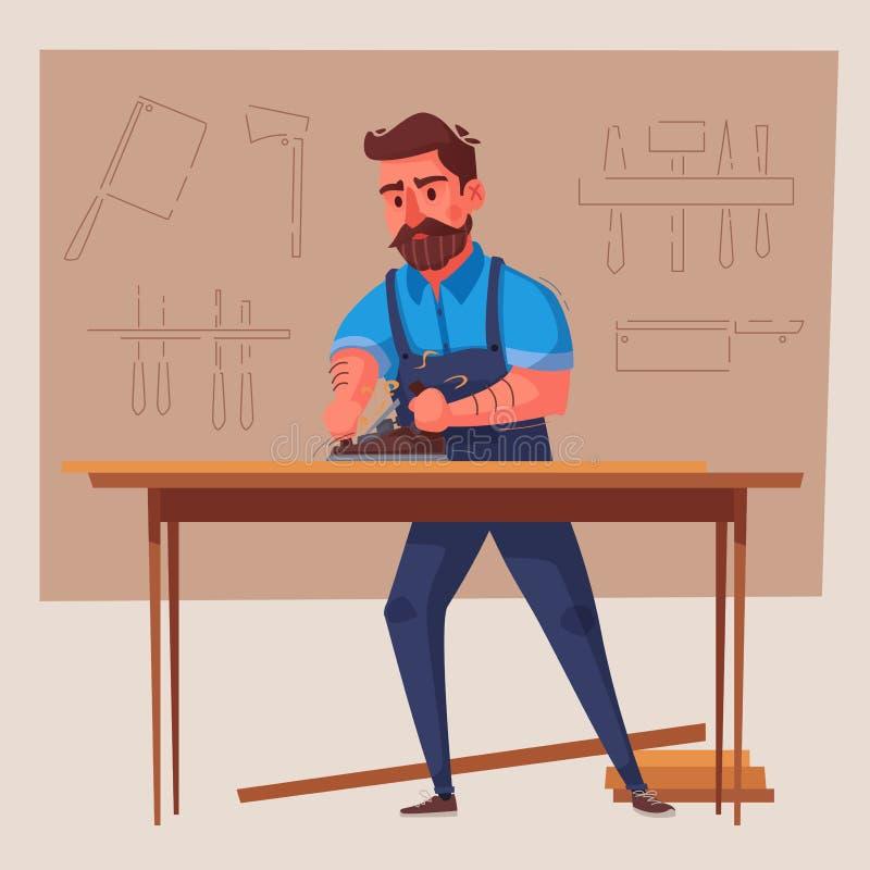Den roliga snickaren arbetar den främmande tecknad filmkatten flyr illustrationtakvektorn vektor illustrationer