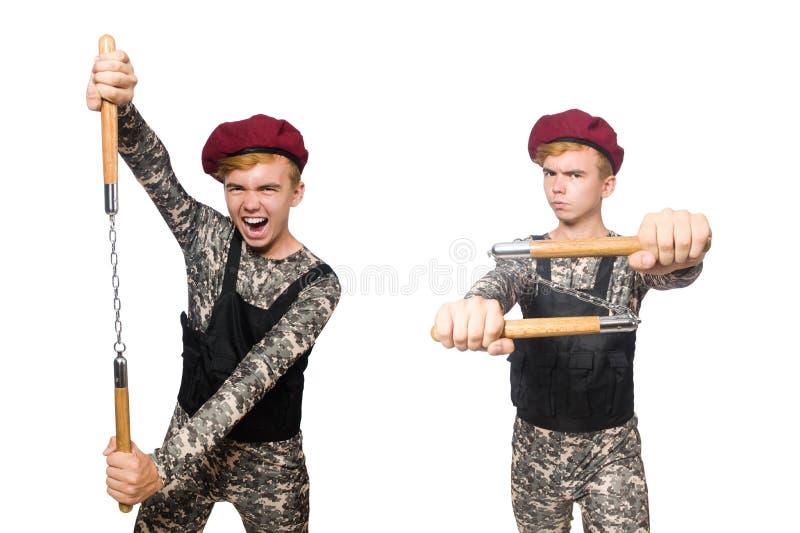 Den roliga soldaten i militärt begrepp som isoleras på viten royaltyfria foton