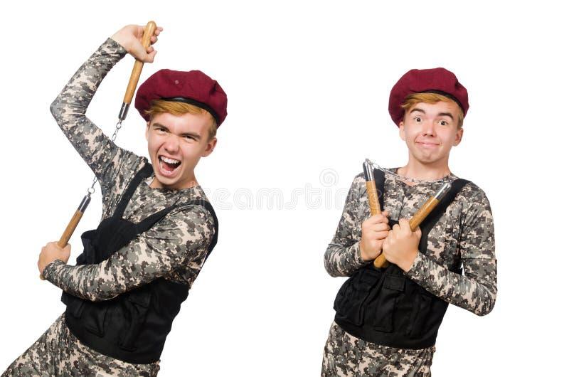 Den roliga soldaten i militärt begrepp som isoleras på viten arkivfoto