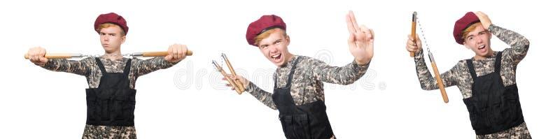 Den roliga soldaten i militärt begrepp som isoleras på viten arkivbild