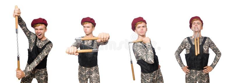 Den roliga soldaten i militärt begrepp som isoleras på viten royaltyfria bilder