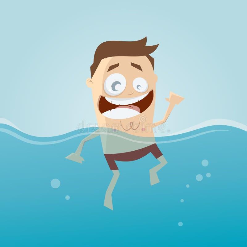Den roliga tecknad filmmannen simmar stock illustrationer