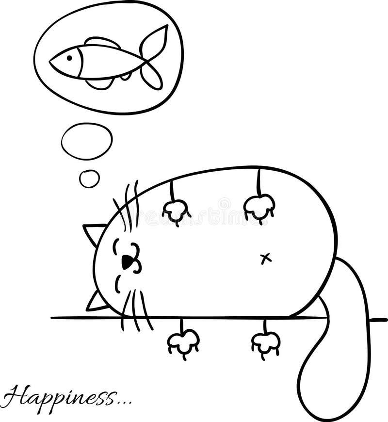 Den roliga tecknade filmen skissar kattbakgrund stock illustrationer
