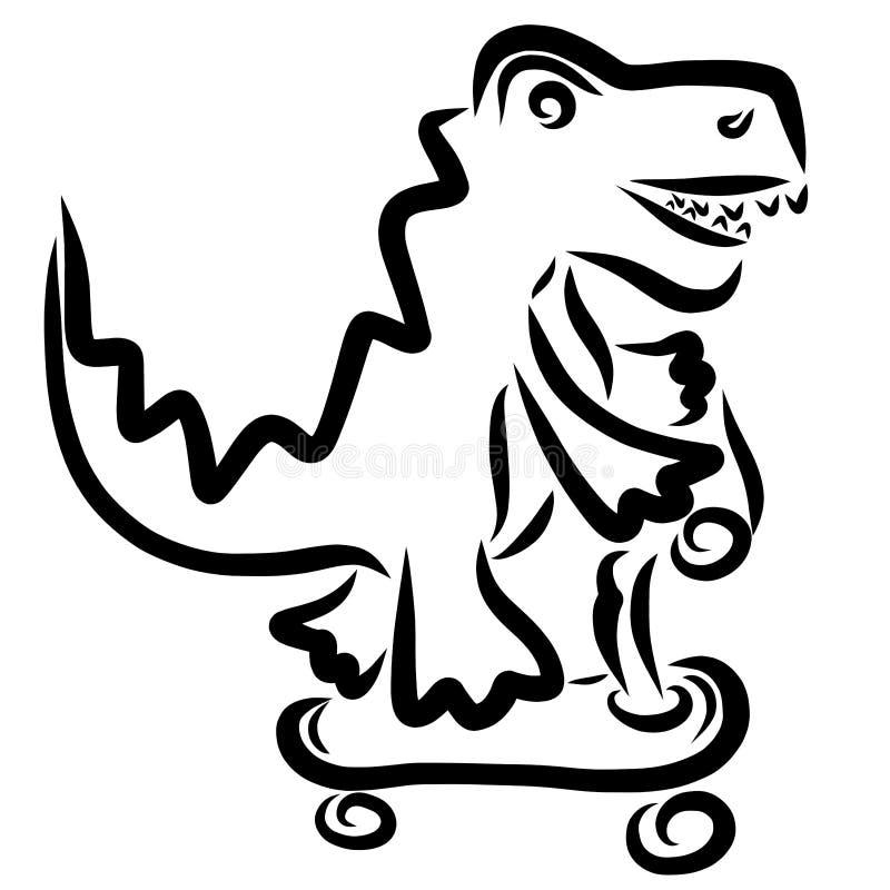 Den roliga toothy krokodilen som rider en sparkcykel, skissar royaltyfri illustrationer