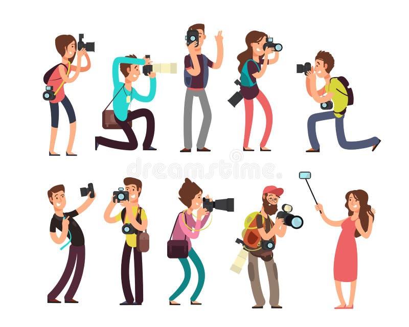 Den roliga yrkesmässiga fotografen med kameran som tar fotoet i olikt, poserar uppsättningen för vektortecknad filmtecken stock illustrationer