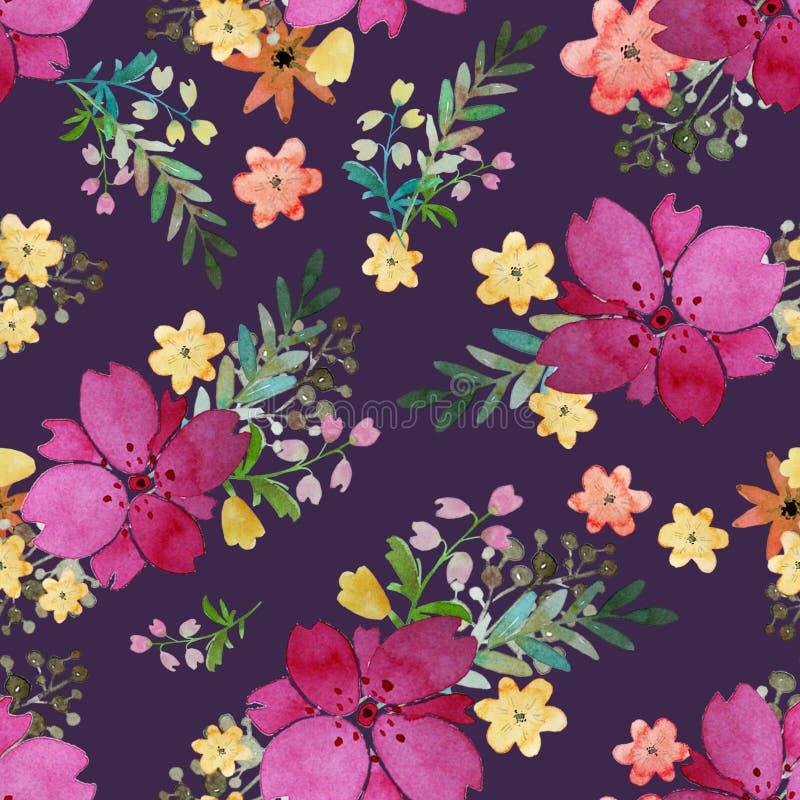 Den romantiska blom- sömlösa modellen med steg blommor och bladet Tryck för den ändlösa textiltapeten Hand-dragen vattenfärg stock illustrationer