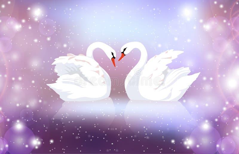 Den romantiska illustrationen av ett par av vita svanar på en suddig bakgrund med mousserar vektor illustrationer