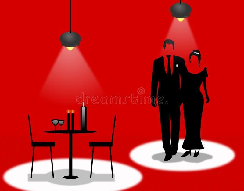 En romantisk matställe daterar vektor illustrationer