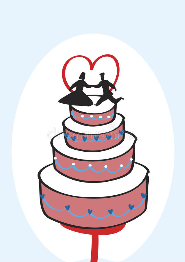 Bröllopstårta vektor illustrationer