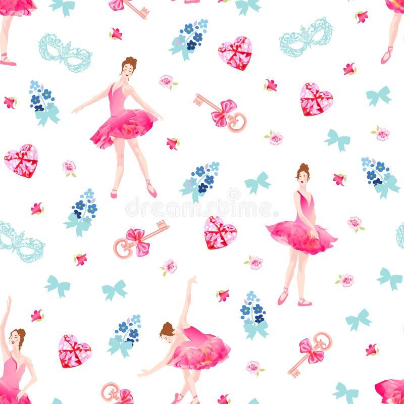 Den romantiska sömlösa vektormodellen med ballerina, tangenter, pilbågar, rosa diamanthjärtor, blommar vektor illustrationer