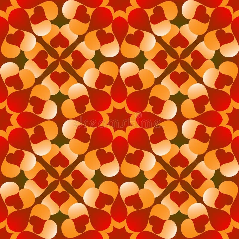 Den romantiska valentins formar sömlösa modell med blommor av röd och orange lutninghjärta på röd och grön lutningbakgrund royaltyfri illustrationer