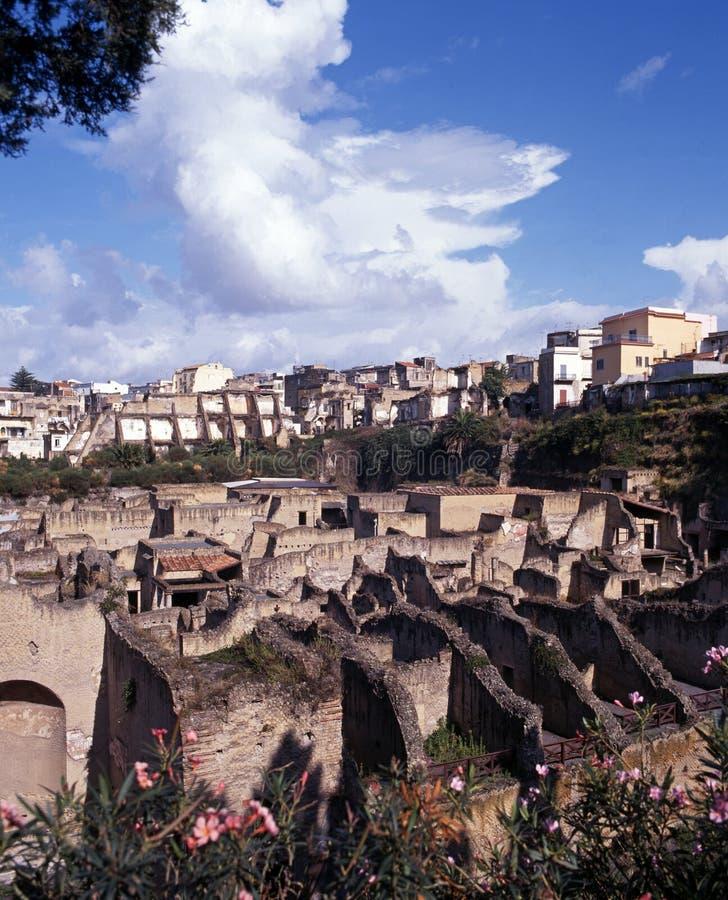 Den romerska staden fördärvar, Herculaneum. royaltyfria bilder
