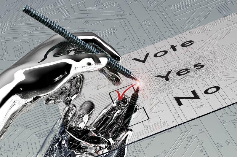 Den Rorbot handen röstar med den digitala pennan royaltyfria foton