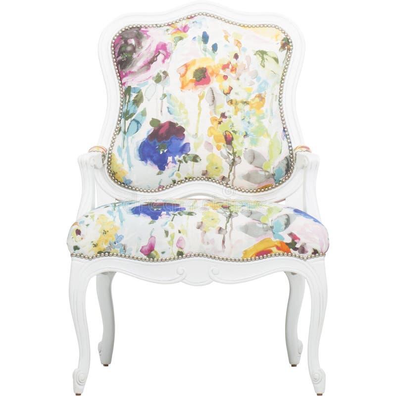 Den rosa brytningstolrodnaden presiderar mång- tillfälligt varmt, Lillian August Albert Tufted Floral Upholstered Chair, BLOM- PA royaltyfria bilder