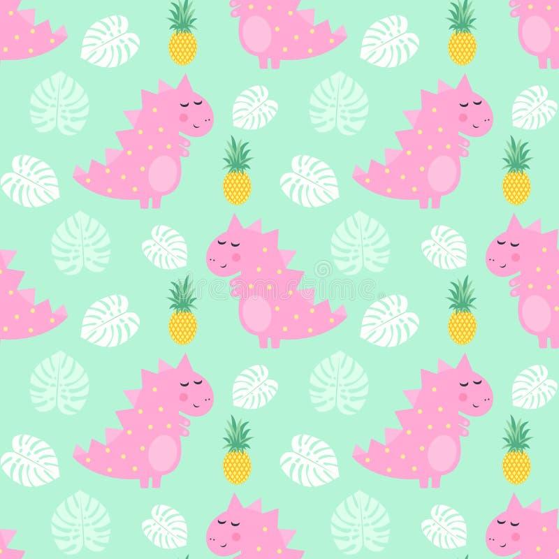 Den rosa dinosaurien med den sömlösa modellen för ananas och för palmblad på mintkaramellen gör grön bakgrund royaltyfri illustrationer