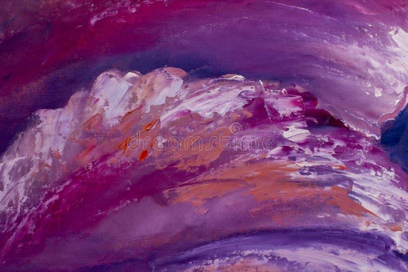 Den rosa lilan vinkar olje- målning för palettkniven royaltyfria foton